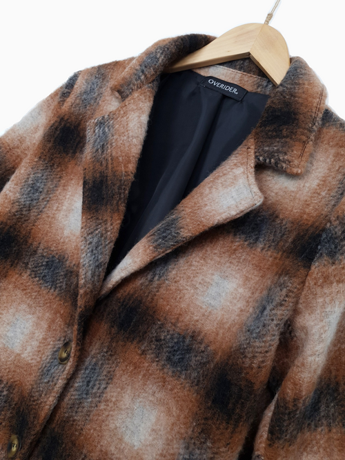 NADYA | Wool Plaid Coat| Ochre - LOW STOCK!