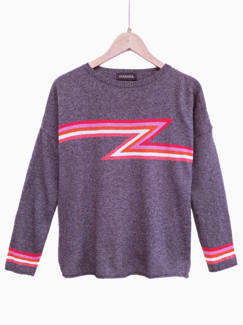 ZIGGY STRIPE - Cashmere Blend Jumper - Charcoal