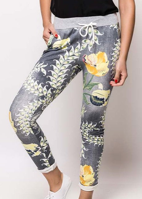 ZOFIA - Floral Slouch Pants - Grey