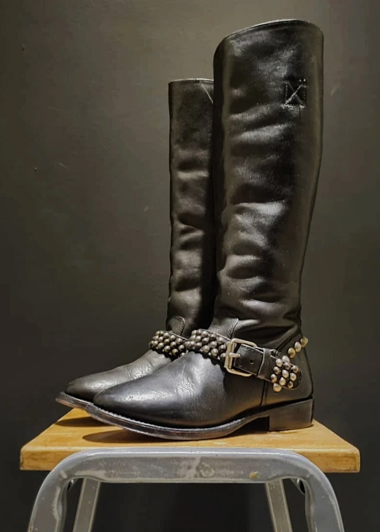 Preworn | Preloved <br> 'ASH' <br>Tall Studded Harness Boot <br>Size 4 UK