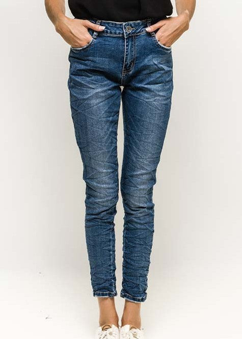ARIANNA - Washed Denim Jeans - Indigo