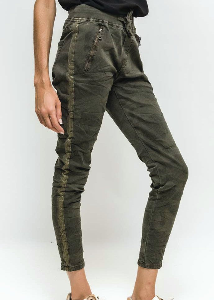 SASHA - Camo Pants with Stripe