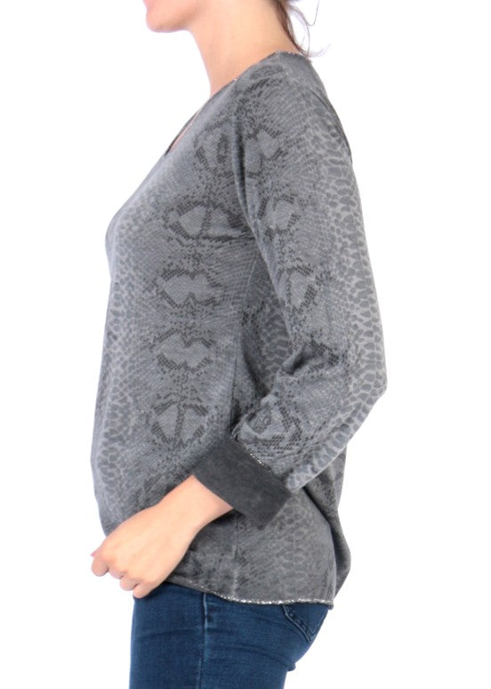 EVA - Snake Pattern Top - Grey