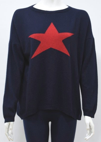 ISABEL - Star Jumper in Cashmere & Wool - Navy/Red