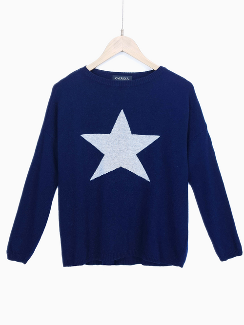 STAR - Cashmere Blend Jumper - Navy/Grey