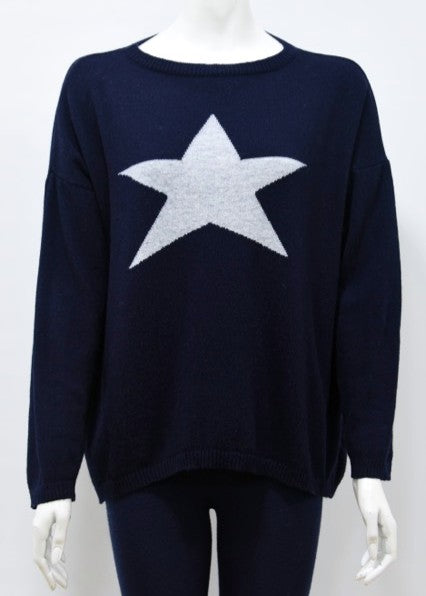 ISABEL - Star Jumper in Cashmere & Wool - Navy/Silver