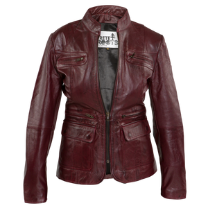 Womens Vintage Red Leather Jacket