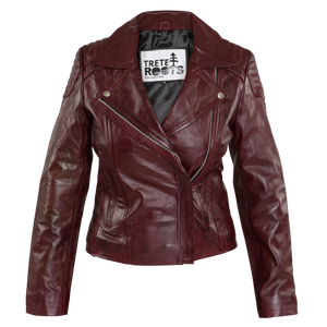 Womens Vintage Red Leather Biker Jacket