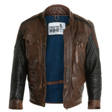 Mens Contemporary Leather Jacket Black & Brown