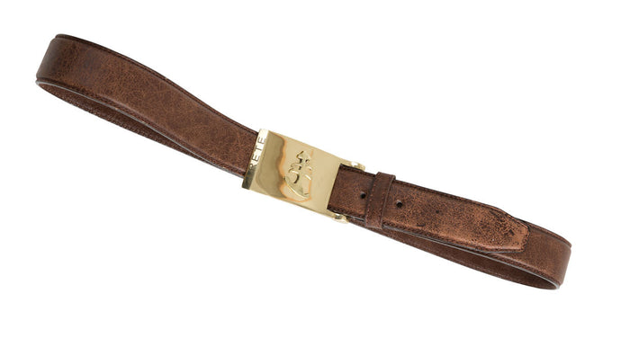 Brown Leather Belt | Gold Buckle