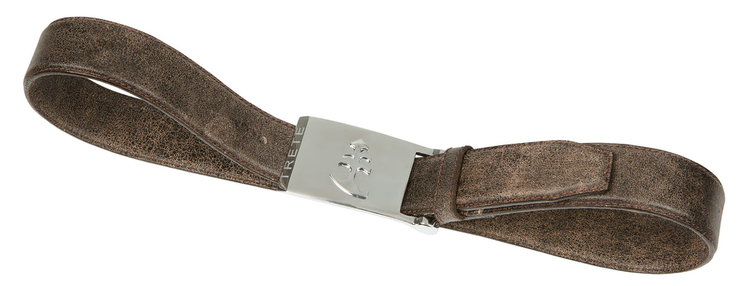 Dark Brown Leather Belt | Silver Buckle