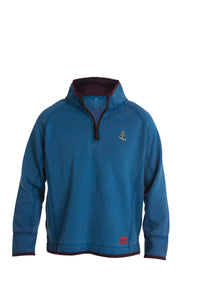 Trete Mens 1/4 zip Vintage Jumper Blue