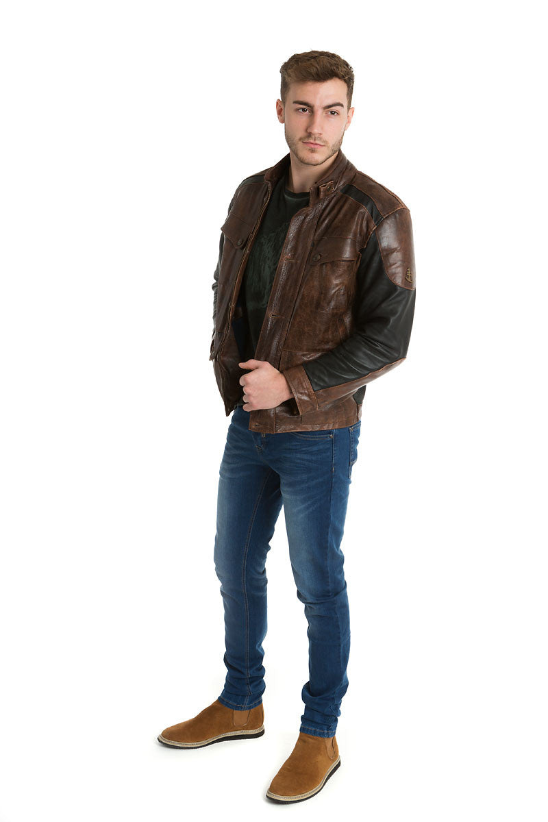 10920e6cfea0 Mens Contemporary Leather Jacket Black & Brown – Trete Clothing
