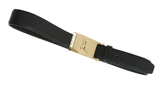 Black Leather Belt | Gold Buckle