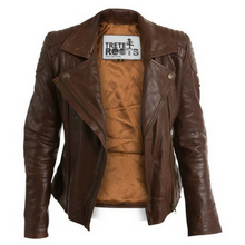 Womens Brown Leather Biker Jacket