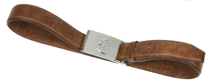 Brown Leather Belt | Silver Buckle