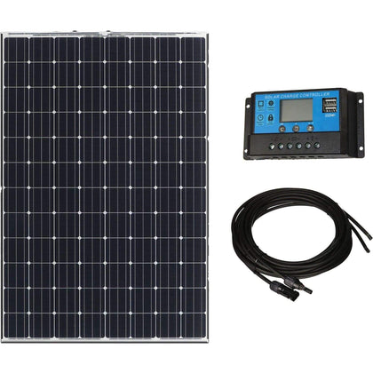 100W Monocrystaline Solar Power Kit w/ 20A PWM Solar Controller + Pair 16ft MC4 Cables - High Efficiency Solar Panels