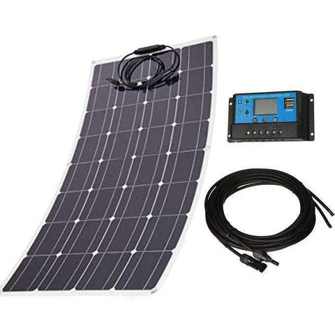 120W Flexible Monocrystalline Solar Power Kit w/ 20A PWM Solar Controller + 16ft MC4 Cables - High Efficiency & LightWeight