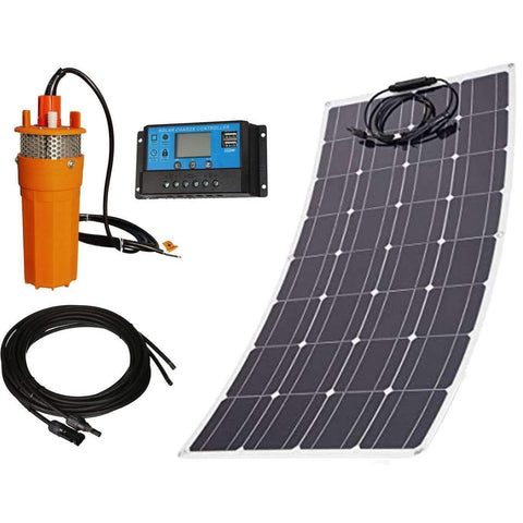 Flexible Solar Powered Submersible Pump Kit - 120W Flexible Mono Panel w/ 12V 1.6GPM Deep Well Pump