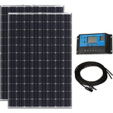 200W 12V Solar Power Kit - 2x100W High Efficiency MonoCrystalline Solar Panels w/ 20A PWM Solar Controller + 16ft MC4 Cables