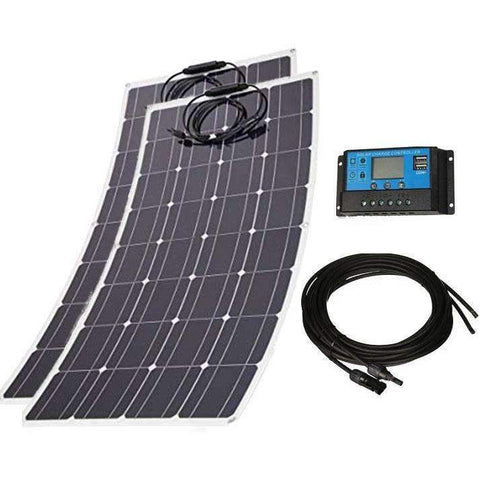 240W 12V/24V Lightweight & Flexible Solar Power Kit - 2x120W Flex Mono Solar Panels w/ 20A Solar Contr. + 16ft MC4 Cables
