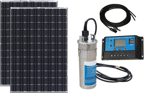 Submersible Solar Powered Water Pump with 2 100W Mono Panels
