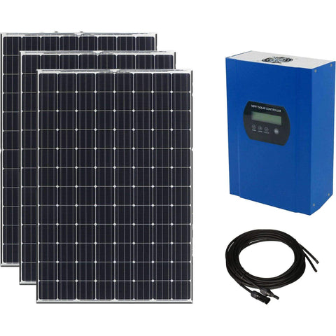 300W 12V Solar Power Kit - 3 x 100W Mono Solar Panels w/ 40A MPPT Solar Controller + 16ft MC4 Cables