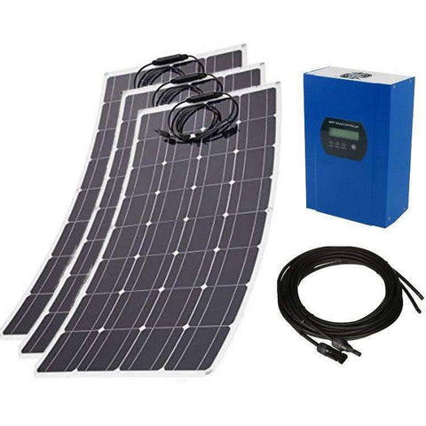 360W 12V Flexible DIY Solar Power Kit - 3 x 120W Flexible Mono Solar Panels w/40A MPPT Solar Controller & 16ft MC4 Cables