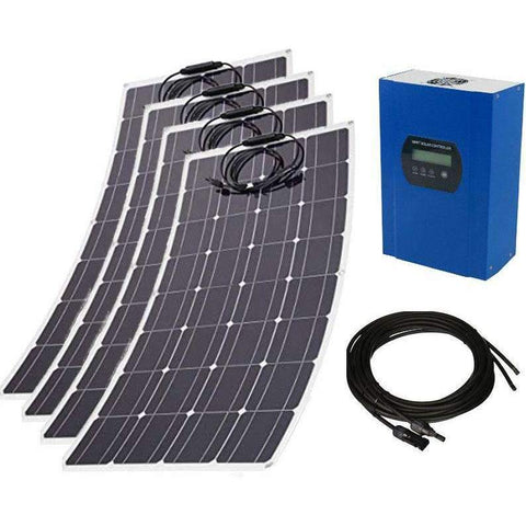 480W 12V/24V Flexible Solar Power Kit - 4x120W Mono Solar Panels w/ 40A MPPT Solar Controller + Pair 16ft MC4 Cables - Highly Efficient & Lightweight