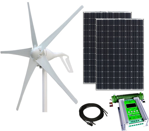 700W 24V Hybrid Wind & Solar Power DIY Off-Grid Kit - 500W Wind Turbine + 2x100 12V Monocrystalline Solar Panels