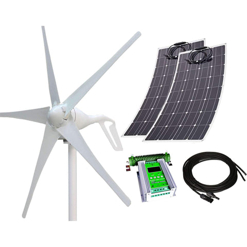 640W 24V Wind-Solar Power Flexible Hybrid Kit - 400W Wind Turbine + 2x120W Flexible Solar Panels w/ 24V 50A Hybrid MPPT Controller + 16ft MC4 Cables