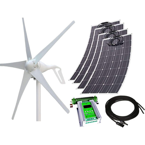 880W 24V Wind-Solar Power Flexible Hybrid Generator Kit - 400W Wind Turbine + 480W Flexible Mono Solar Panel + 24V 50A Hybrid MPPT Contr.