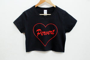 Pervert Women's Black Crop Shirt
