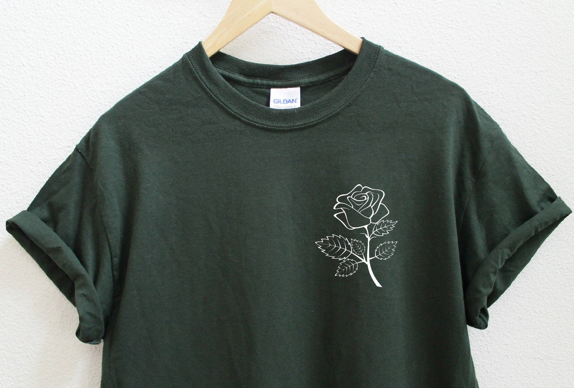 Rose Unisex Dark Green T-Shirt