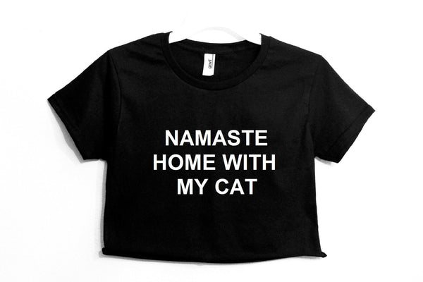 Namaste Home With My Cat Crop Shirt