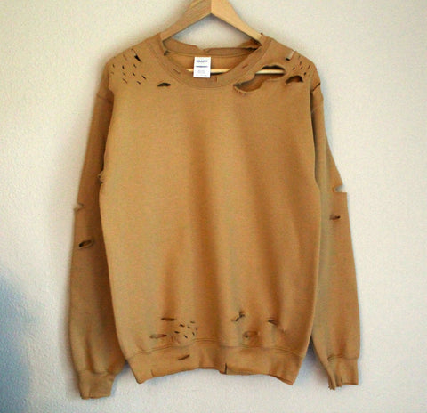 Nude Distressed Sweatshirt