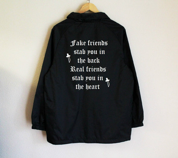 Fake friends stab you in the back Real friends stab you in the heart Unisex Nylon Windbreaker Jacket