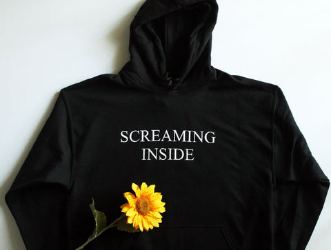 Screaming Inside Black Unisex Hoodie
