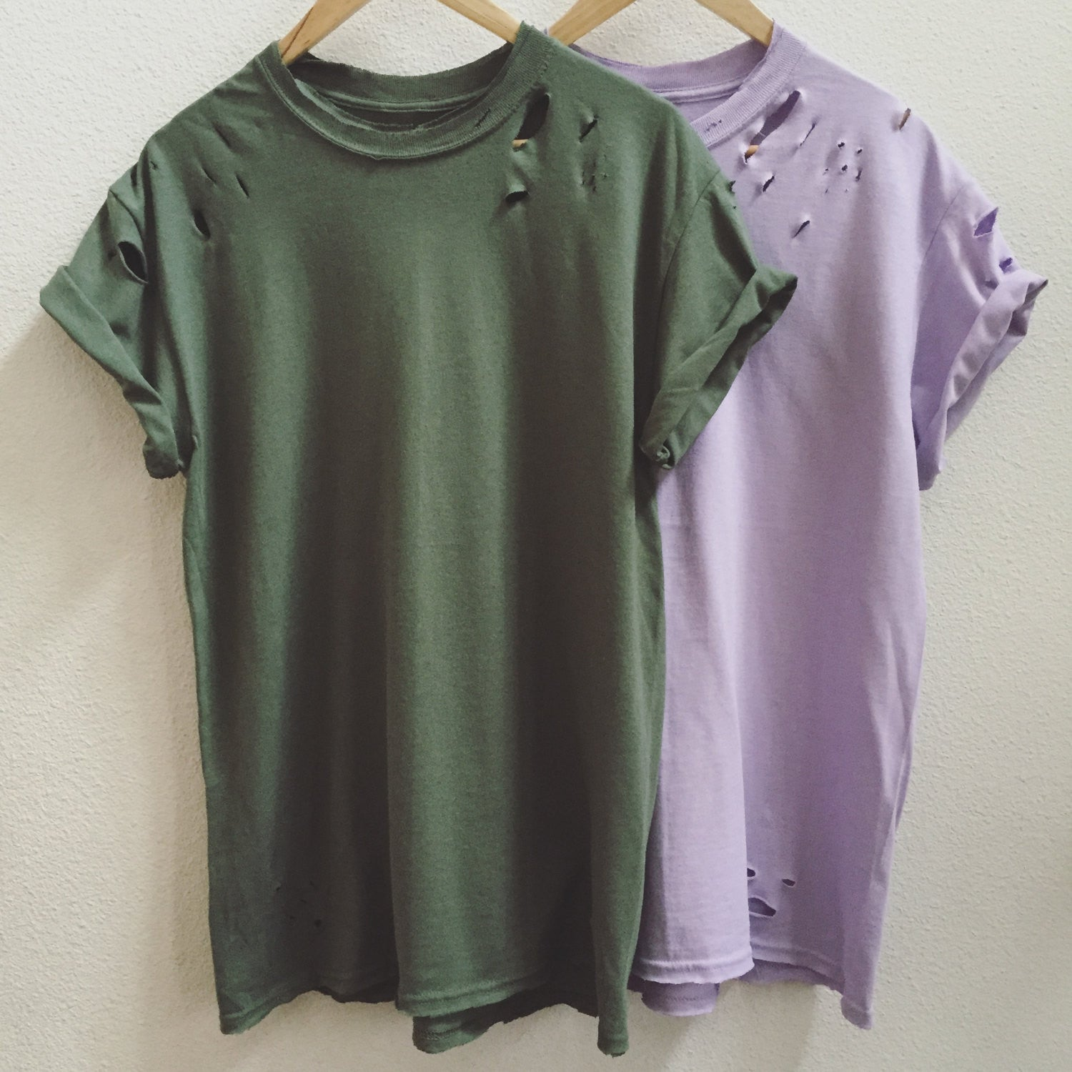 Distressed Unisex T-Shirt Green+Purple