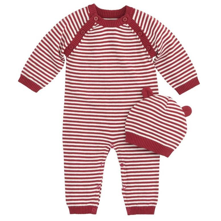 a red-and-white striped jumpsuit and hat