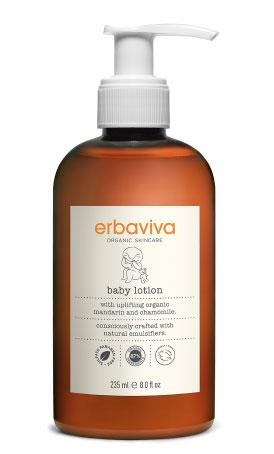 a bottle of organic baby lotion