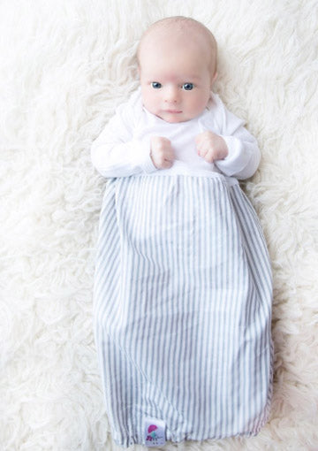 Posh Baby Gowns Gray and White Stripes