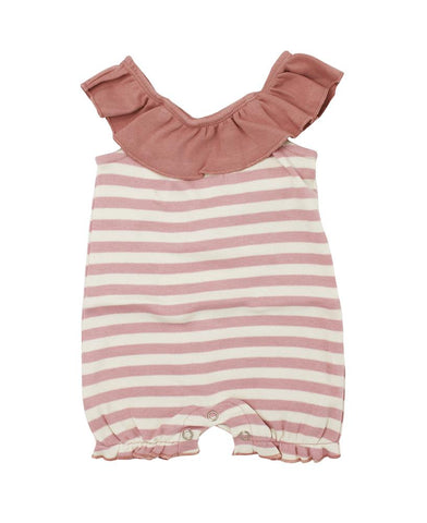 Stripe-A-Pose Bubble Romper-Mauve/Biege