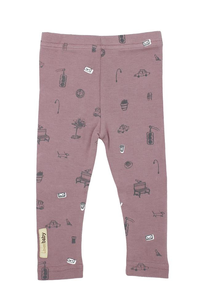 Organic Leggings-Lavender Itty Bitty City