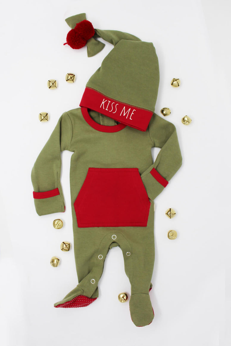 Holiday Overall & Cap Set-Mistletoe