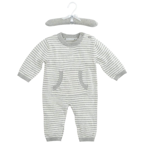 Stripe Knit Jumpsuit-Gray