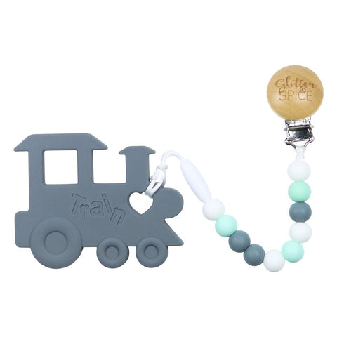 Chew Chew Train Teether- Gray