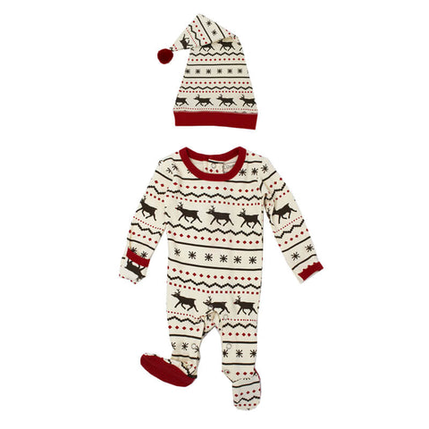 Holiday Overall & Cap Set-Fair Isle Reindeer