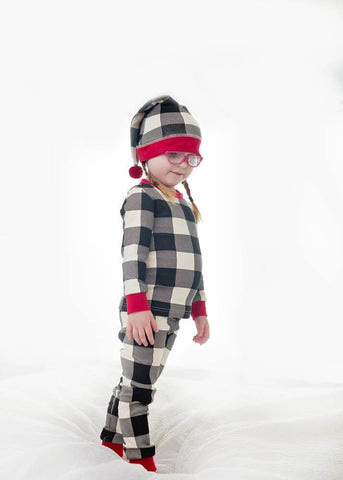 Holiday PJ & Cap Set- Buffalo Check