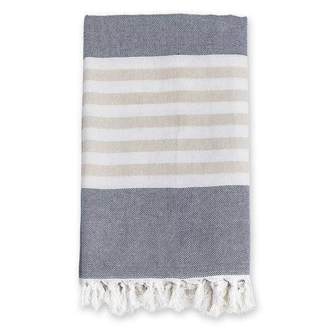 Turkish Towels- Navy & Oatmeal